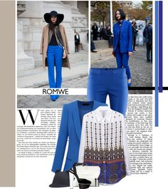 """""""Street style: blue suit!"""" by minnie-me on Polyvore"""