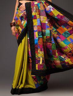 Udd Patchwork Saree Pinned by Sujayita Black Saree Blouse, Latest Saree Blouse, Saree Blouse Designs, Dupion Silk Saree, Handloom Saree, Embroidery Suits, Embroidery Fashion, Sari Design, Dress Design Sketches