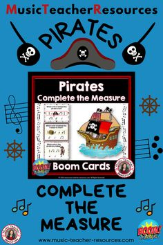These 20 PIRATE themed digital task cards on the BOOM Learning™ website are fun, educational and engaging activities to reinforce the concept of rhythm! Each card gives the student one four-beat measure/bar; however, one of the notes is hidden by a PIRATE image. Students are to select the note needed to complete the measure/bar. ♫ ♫ #musiceducation #mtr #boomcardsformusic #boomcards