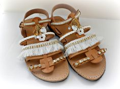 Gladiator sandals, Boho chic leather sandals, White decorated sandals, Wedding sandals, Spartan sandals, Beach wedding, Women summer shoes
