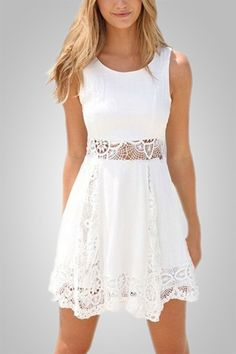 A casual short white mini dress decorated with lace to add your fashion collection Details: - Mini Dress - Sleeveless - Lace Design - White Dress - Fabric: Polyester,Lace Free Shipping! MINCHIC sugges
