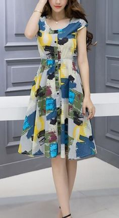 Women's Going out Casual/Daily A Line Dress,Floral Round Neck Above Knee Short Sleeves