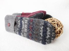 Recycled Sweater Mittens GRAY & BURGUNDY Fair Isle by WormeWoole