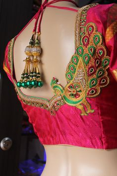Fabloon in Chennai ,Fabloon Boutique In Chennai provides customized designer clothing. Peacock Blouse Designs, Peacock Embroidery Designs, Cutwork Blouse Designs, Wedding Saree Blouse Designs, Pattu Saree Blouse Designs, Simple Blouse Designs, Blouse Back Neck Designs, Peacock Design, Pattern Blouses For Sarees