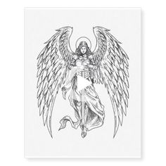 Angel Wings Holy Angel Bringing Sword #thightattoos Tribal Tattoos, Tattoos Mandala, Tattoos Skull, Foot Tattoos, Star Tattoos, Celtic Tattoos, Flower Tattoos, Forearm Tattoos, Sword Tattoos For Women