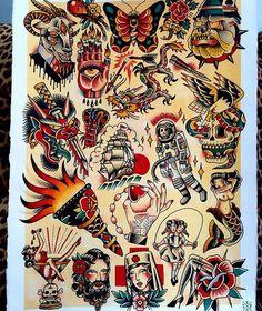 67 Ideas tattoo old school arm american traditional flash art Flash Art Tattoos, Tattoo Flash Sheet, Flash Tradicional, Tattoo Tradicional, Sanduhr Tattoo Old School, Old School Tattoo Designs, Traditional Style Tattoo, Traditional Flash, American Traditional Tattoos
