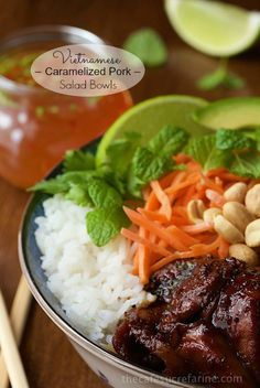 Amazing flavors, textures and colors are all in this Vietnamese Caramelized Pork Salad Bowls. With nuoc cham dipping sauce, you'll think you're at an Asian bistro!