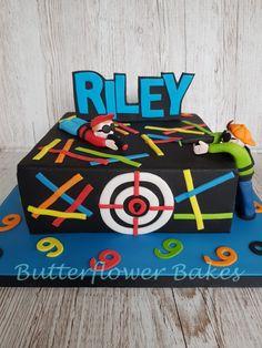 Laser Tag 9th birthday cake Lazer Tag Birthday Party, Laser Tag Birthday, 9th Birthday Cake, Laser Tag Party, Lego Birthday Party, Boy Birthday Parties, Birthdays, Cake Ideas, Cupcakes