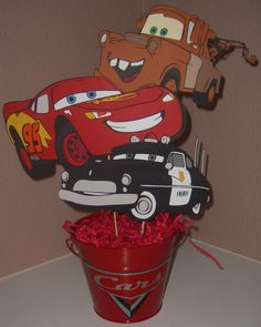 Cars Theme Party Decor Kids Boys Lightning McQueen Car Centerpieces Birthday