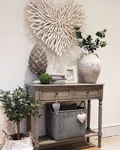 Grey console Hallway ideas Chunky twig heart Grey baskets Make your house a home