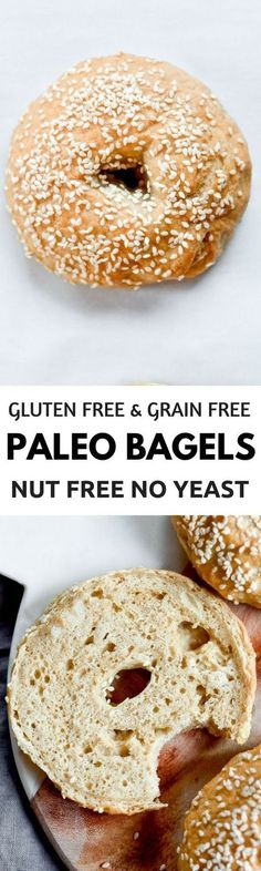 "Gluten free, grain free, nut free, no yeast, easy, healthy, paleo bagel recipe. Best easy to make paleo bagels that taste ""real""! You wont know they dont have grains- because they taste and look like the real thing!"