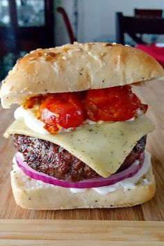 Greek Lamb Burgers with Blistered Tomatoes and Tzatziki Spread
