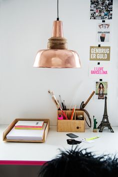 Copper lamp shade over desk - madam stoltz tower Copper Wood, Copper Lamps, Copper Lighting, Copper Decor, Ceiling Pendant, Ceiling Lights, Copper Ceiling, Pendant Lights, Copper Interior