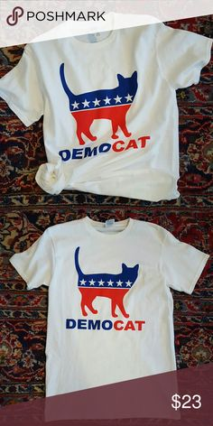Demo...cat Tee White tee, only worn once, so in great condition. Support two things at once! Tops Tees - Short Sleeve