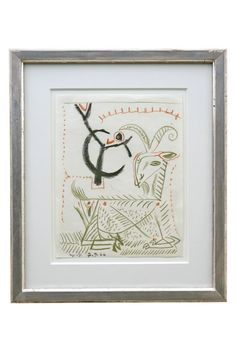 Abstract crayon drawing of green goat by Michel Debieve (1931- ), dated 1966