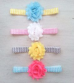 Shabby flower headband Set of 4, Chevron headband,