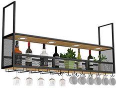 Wine Rack Bar, Iron Wine Rack, Bar Rack, Home Bar Decor, Home Decor Kitchen, Küchen Design, House Design, Wall Design, Design Ideas