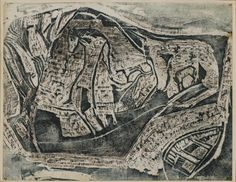 Peter Lanyon (British, 1918-1964) Abstract Composition Traced slate monotype, 1949, printed in dark blue, with extensive additional work in pen and ink and gouache,  signed and dated in blue ink, 495 x 641mm (19 1/2 x 25 1/4in)(SH)