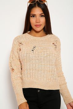 cb9ddbbe622 Sexy Peach Knit Distressed Casual Sweater Top