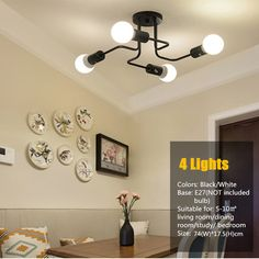 Modern E27 4 Heads Way Ceiling Light Iron Industrial Night Lamps Fixtures Lighting Living Room Home Decor-in Ceiling Lights from Lights & Lighting on Aliexpress.com | Alibaba Group