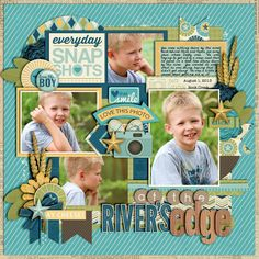 At the River's Edge - Sweet Shoppe Gallery 12x12 Scrapbook, Disney Scrapbook, Scrapbook Page Layouts, Scrapbooking Ideas, Kiwi Lane Designs, Calendar Pages, New Hobbies, Scrapbooks, Little Boys