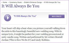 """""""It Will Always Be You"""" - Your ♥ will skip a beat when you picture yourself walking down the aisle to this beautiful new wedding song.  Click on the image to listen or click on the link here :) http://www.weddingmusiccentral.com/wedding-ceremony-music/bride-s-entrance/it-will-always-be-you.html #weddings #weddingsongs wedding music"""