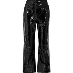 Off-White Suede-appliquéd cropped patent-leather pants (5.910 RON) ❤ liked on Polyvore featuring pants, capris, black, bottoms, off-white, trousers, zip pants, checked pants, cropped trousers and suede leather pants