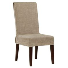 Good Sure Fit Textured Faux Linen Short Dining Room Chair Cover, Brown