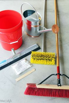 Supplies to prepare the garage floor for RockSolid Metallic Floor Coating