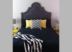 Custom headboard - charcoal with two rows of nailhead.  www.Elements-of-Style.com