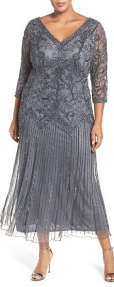 Do you want your mother of the bride feel like a Hollywood star on your wedding day?  Check that stunning  gray v-neck midi dress with the beading and sequins shine in an elegant way.