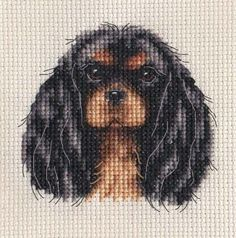 Black & Tan Cavalier King Charles Spaniel portrait. An Original counted cross stitch kit by Fido Stitch Studio. This 'mini' stitch kit could be completed in a few hours. This kit contains everything you need to complete your project. | eBay!