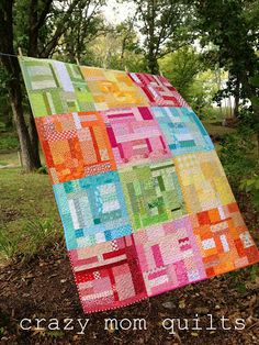 crazy mom quilts: Missing U - changed binding color to match quilt blocks