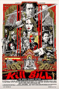Kill Bill: The Whole Bloody Affair is a complete edit of the two-part martial arts action films Kill Bill: Vol. 1 and Kill Bill: Vol. The film was. Quentin Tarantino, Tarantino Films, Cinema Posters, Film Posters, Portrait Draw, Kill Bill Movie, Fantasy Anime, Kunst Poster, Movie Poster Art