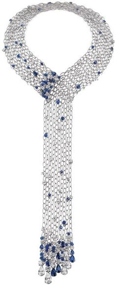 Diamond and sapphire platinum necklace by Chow Tai Fook: