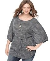 L8ter Plus Size Top, Dolman Sleeve Belted  Sale $29.40