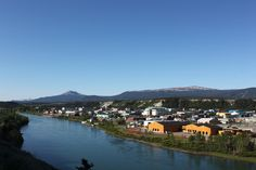 Beautiful view of downtown Whitehorse on the Yukon River waterfront.