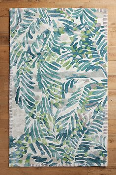 This Wild Palm Rug features painterly palms that form a calming composition in shades of green. Hand-tufted rugs are a perfect fit for a living room or bedroom, since their plush, dense pile is com… Bohemian Decoration, Tropical Area Rugs, Coastal Rugs, Coastal Living, Hand Tufted Rugs, Textiles, It Goes On, Home Rugs, My Living Room