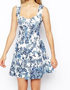 Enlarge ASOS Skater Dress with Sweetheart Neck and Floral Texture Print