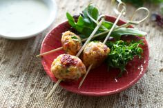 Chicken meatballs with Bleu cheese dipping sauce-- an excellent alternative to beef meatballs. the pancetta really adds a lot to the chicken. I Love Food, Good Food, Best Bacon, Chicken Meatballs, Healthy Dinner Recipes, Clean Recipes, Healthy Meals, Food For Thought, Carne