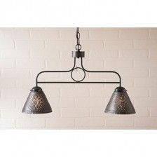 Medium Franklin Hanging Light Chisel Design in Kettle Black