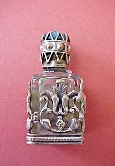 Vintage Renaissance Style Perfume Bottle w/Jeweled Crown Top