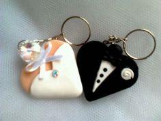 chaveiros de noivo e noiva