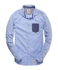 Mens - Cut Collar Shirt in End On End Blue   Superdry