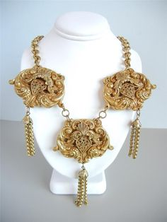 Vtg Early Unsigned Miriam Haskell Necklace Russian Goldtone Tassels