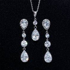 Jewelry Set  Bridal Necklace and Earrings by FloweryDeer on Etsy, $51.00