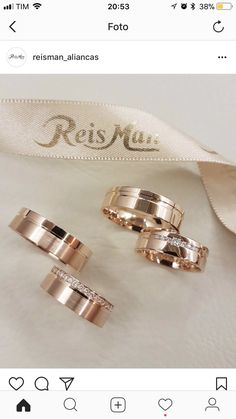 46 ideas for wedding rings for him and her couples love Wedding Ring For Him, Matching Wedding Rings, Gold Wedding Rings, Wedding Bands, Jewelry Rings, Jewelery, Beautiful Wedding Rings, Beautiful Beautiful, Couple Rings
