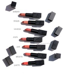 Shades as described by NARS: Barbara is a tan rose. Raquel is a pink beige Nars Audacious Lipstick, Lipstick Collection, Pink Beige, Lip Pencil, Lip Liner, Pure Products, Lip Products, Nars Cosmetics, Makeup Tips