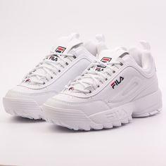 www.kaotikobcn.com FILA DISRUPTOR LOW WMN WHITE #fila #PLATFORM #shoesoftheday #shoes #sneakers #white