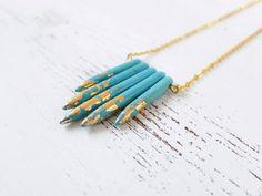 Ketten kurz - Tribal Spikes ● Kette Howlith Türkis & Blat... - ein Designerstück von BelleEtBete bei DaWanda